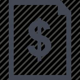 document, dollar, online, sign icon