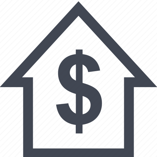 dollar, home, house, online icon
