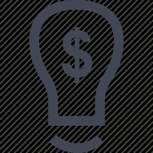 bulb, dollar, idea, light, online icon