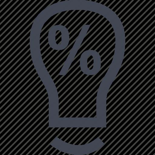 bulb, idea, light, online, percent icon