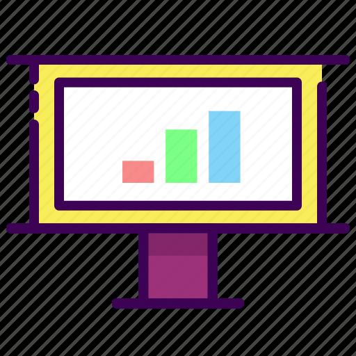 analytics, diagram, presentation, projector icon
