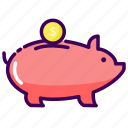 bank, money, pig, save, save money icon