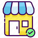building, office, shop, store, trusted, verifycation icon