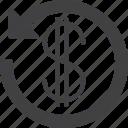 arrow, cashback, dollar icon