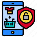 mobile, online, protect, shopping, smartphone icon