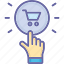 buy, cart, hand, online, sale icon