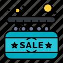 board, door, sale, sign