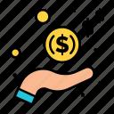 cash, hand, income, money