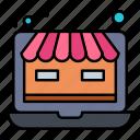 laptop, online, shop, store, web icon