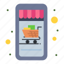 cart, mobile, online, shop, shopping icon