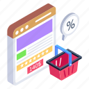 ecommerce, online shopping, web shopping, product details, shopping discount icon