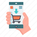 cart, e-commerce, mobile, online, purchase, shopping, smartphone icon