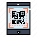 cashless, code, e-commerce, payment, qr, scan, smartphone icon