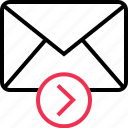 arrow, email, forward, go, mail, next icon