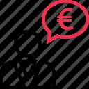 chat, euro, friend, sign, talk icon