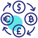 bitcoin, currency, dollar, euro, exchange, pound