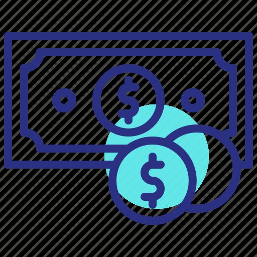 cash, dollar coin, finance, money icon
