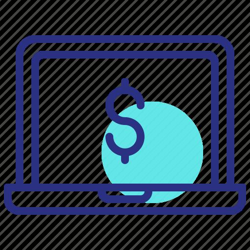 digital, dollar, laptop, money, online, payment icon