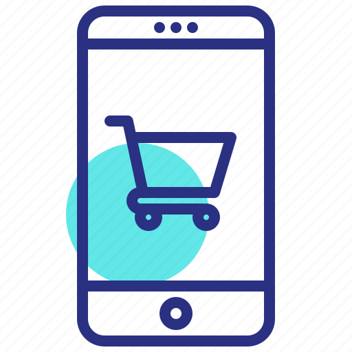 online shop, shopping, shopping cart, smartphone icon