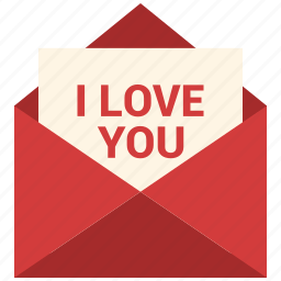 email, i love you, love logo, mail, message, open envelope, valentine's day icon