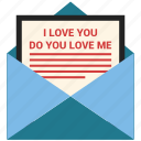 email, i love you, letter, mail, message, open envelope, valentine's day icon