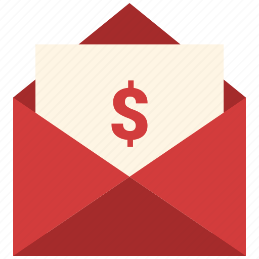 dollar sent, email, letter, mail, message, open envelope icon
