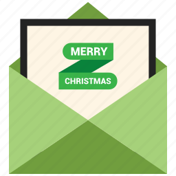 card, christmas, greeting card, letter, merry christmas, message, open envelope icon