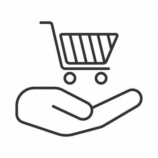 basket, commerce, hand, purchase, shopping, store, trolley icon