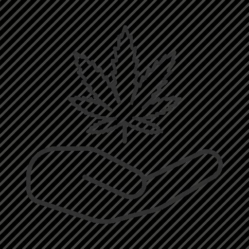 addiction, cannabis, drug, hand, leaf, marijuana, treatment icon