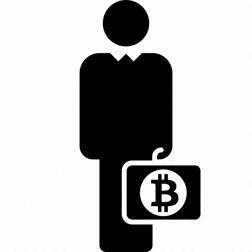 bitcoin, business, case, finance, man, person icon