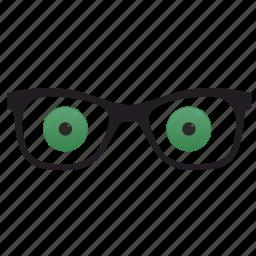 eyes, glasses, green, optics icon