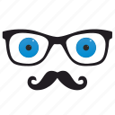 blue, eyes, glasses, hipster, optics icon