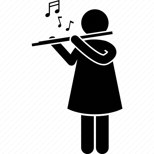 flute, instrument, music, person icon