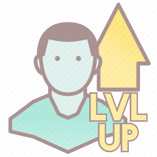 level up, lvl up, player, roleplay, rpg icon