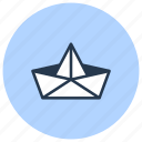boat, craft, origami, paper icon