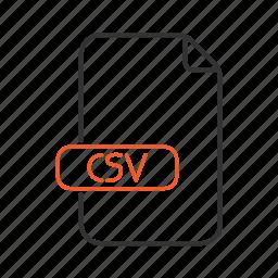 csv, data, extension, file, tabular, type icon