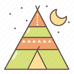 camping, hiking, outdoors, travel, travelling, wigwam icon