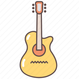 camping, guitar, music, outdoors, tourism, travel icon