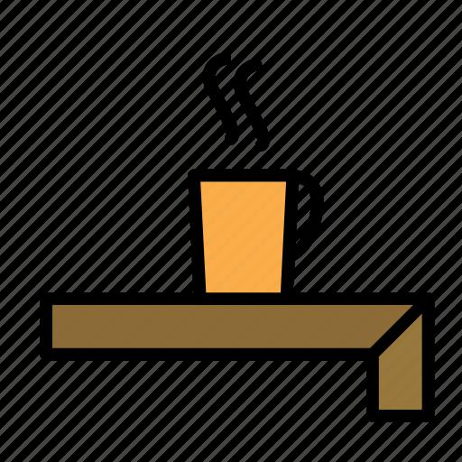 desk, job, office, table, tea icon