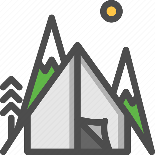 camp, camping, mountaine, nature, tent, tracking icon