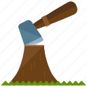 axe, chop, wood icon