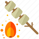 camp, fire, marshmellows icon