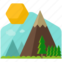 countryside, mountain, sun icon