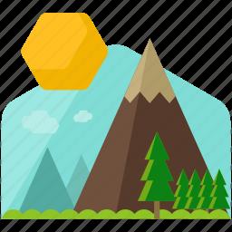 countryside, mountain, sun icon