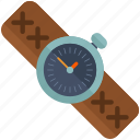 clock, leather, watch icon