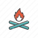 bonfire, camp, campfire, fire, outdoor, travel icon
