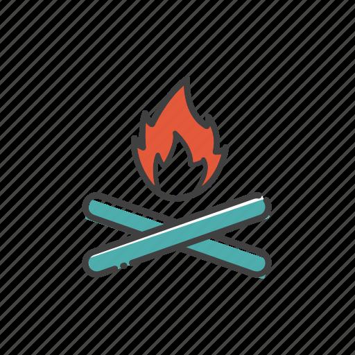 bonfire, camp, campfire, fire, outdoor, travel icon
