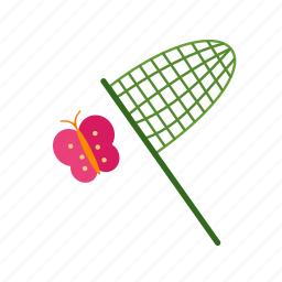 butterflies, butterfly, cartoon, catch, catching, net icon