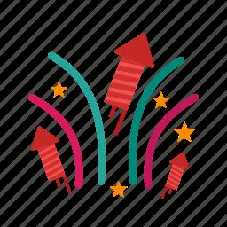 celebration, festival, fire, firework, fireworks, light, sky icon