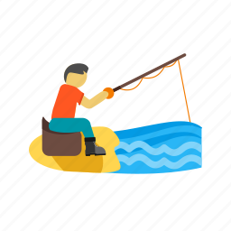 fisherman, fishing, lake, landscape, nature, river, water icon